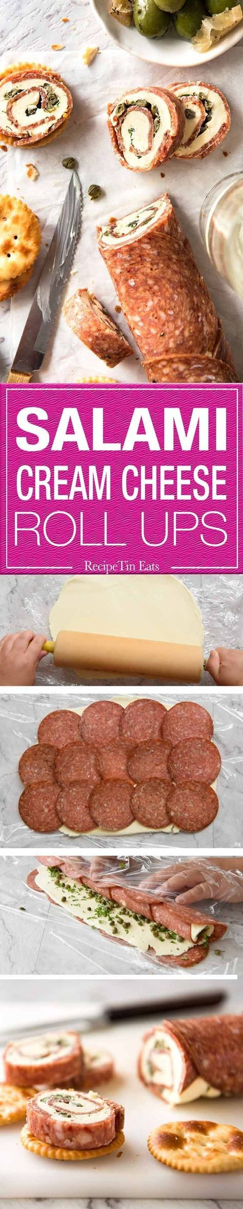 Salami Cream Cheese Roll Up - Great inexpensive party food idea! http://www.recipetineats.com