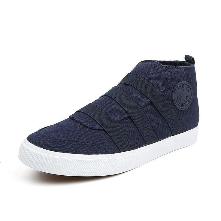 men canvas pure color elastic slip on trainers high top casual shoes  men canvas pure color elastic slip on trainers high top casual shoes  #men's shoes