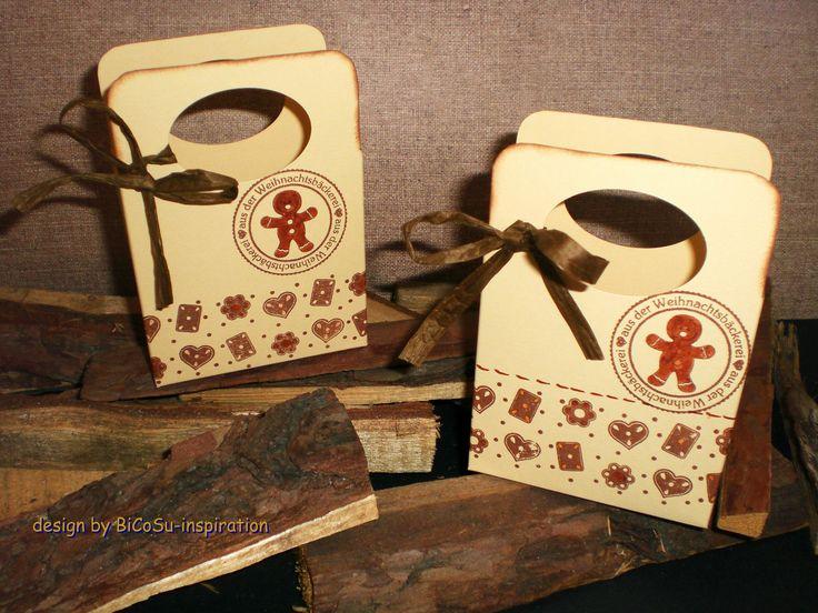 zu Weihnachten kleine Täschen mit einem Lebkuchen gefüllt mit z.B. Schokolade - xmas - christmas bag with gingerbread