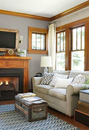 best wall color with oak fireplace - Google Search