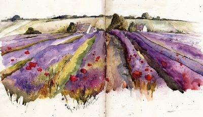 Lavender, Snowshill, Gloucestershire, Watercolour, Kathy Lewis