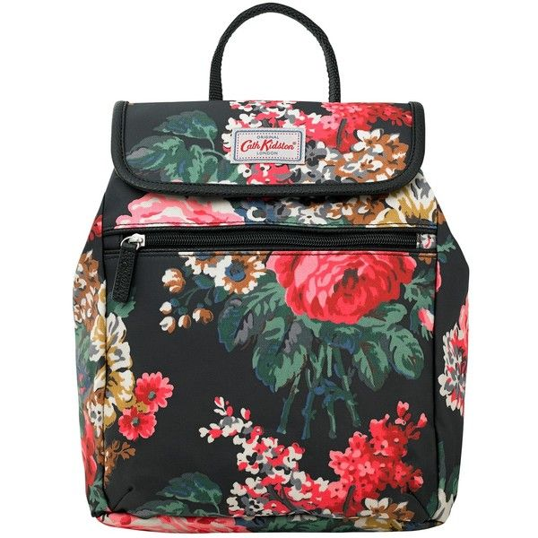 Cath Kidston Bloomsbury Bouquet Backpack, Black ($70) ❤ liked on Polyvore featuring bags, backpacks, strap backpack, flower print backpack, cath kidston bag, floral rucksack and black rucksack