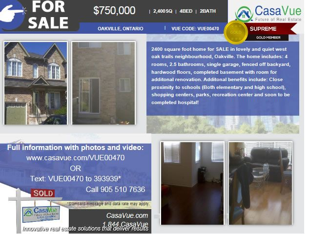 $750,000 #homeforsale 2400-SqFt 4-bed 2-bath #Oakville #Toronto #Ontario #realestate Details: http://bit.ly/1x7Bs8b  2400 square foot home for SALE in lovely and quiet west oak trails neighbourhood, Oakville. The home includes: 4 rooms, 2.5 bathrooms, single garage, fenced off backyard, hardwood floors, completed basement with room for additonal renovation. Additonal benefits include: Close proximity to schools (Both elementary and high school)