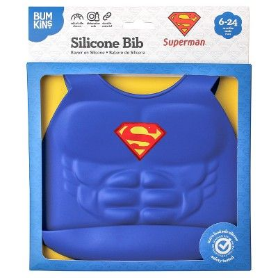 Bumkins DC Comics Silicone Muscle Bib - Superman, Blue