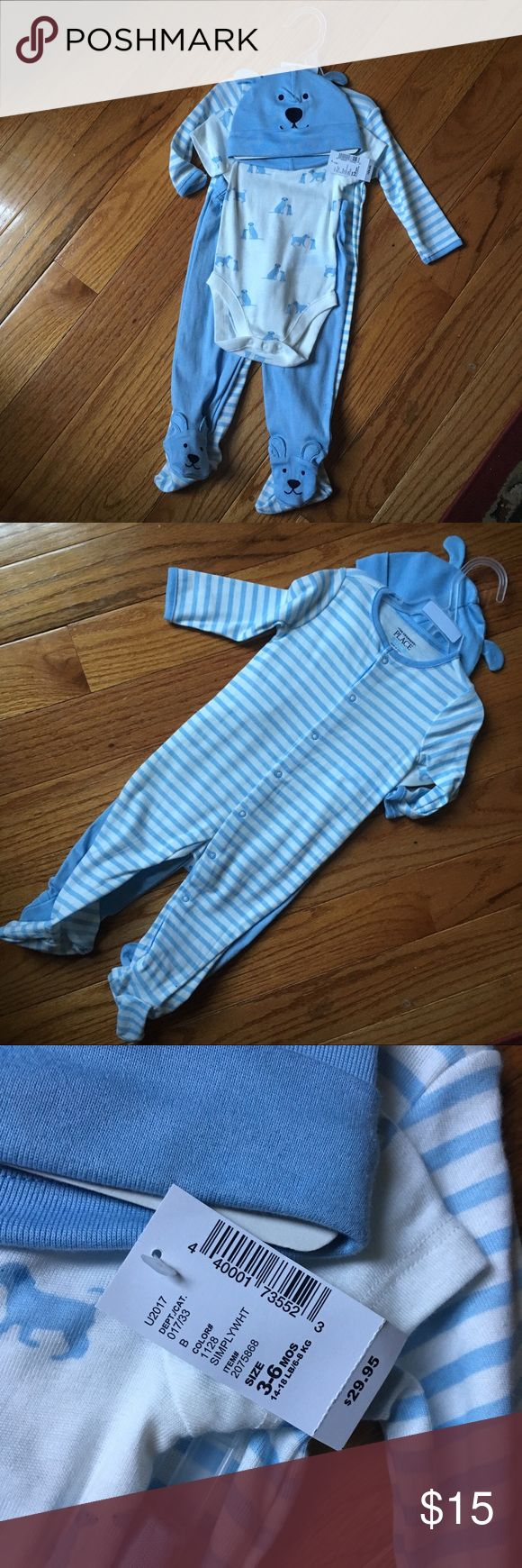 4 Piece Children's Place Set 4 Piece Baby Blue and White Children's Place Set. A white Onesie with baby blue dogs. Baby blue Footie pants with dogs as feet. Baby blue hat with dog face and ears. Baby blue and white striped snap up Footie. Children's Place Matching Sets