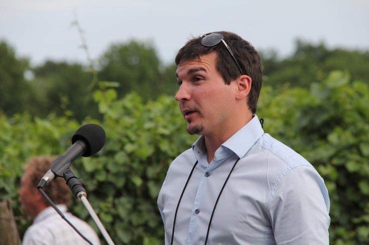 Hunter Kangas representing Huff Estates Winery of Bloomfield, Ontario. (Photo by Bruce Jackson / Jackson-Triggs)