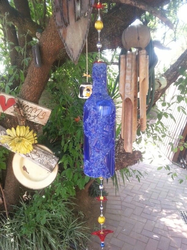 Our mosaic glass bottle wind chime