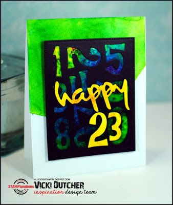 Card by Vicki featuring the CUTplorations Numbers plate thin metal die