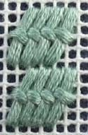 Tied Gobelin needlepoint stitch. A picture, graph, how to work this stitch, how difficult and other names are included on this page.
