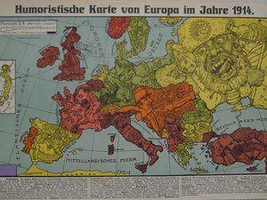 "The second of two maps by Karl Lehmann-Dumont, both published in Dresden in 1914, both called ""Humoristische Karte von Europa im Jahre 1914""."