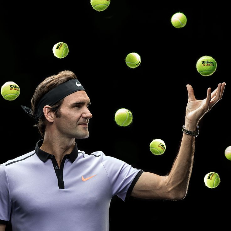 Roger Federer grabs the best ball in tennis: the US Open ball