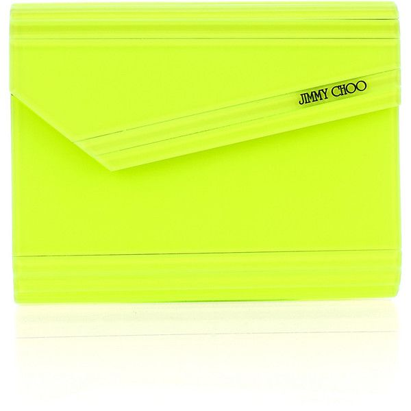 Jimmy Choo Candy acrylic clutch ($435) ❤ liked on Polyvore featuring bags, handbags, clutches, purses, jimmy choo, green handbags, handbags clutches, neon clutches, hardcase clutch and hard clutch