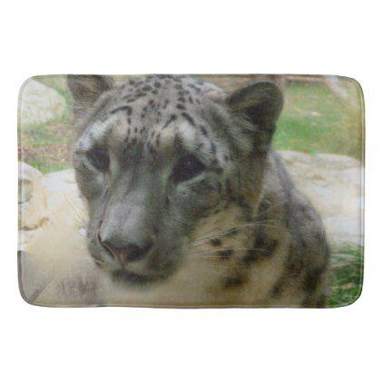 Snow leopard bathroom mat - cat cats kitten kitty pet love pussy