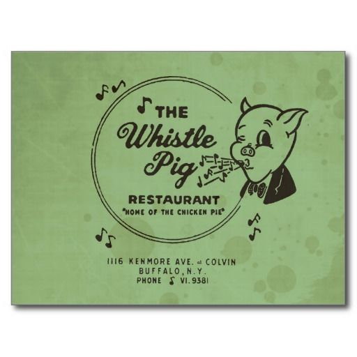 "Based on a matchbook, this design combines the various elements of the former business' logos. Now the site of empty office space, the forgotten Whistle Pig Restaurant on the border between Buffalo NY and Kenmore was known in its day as the ""Home of the Chicken Pie""."