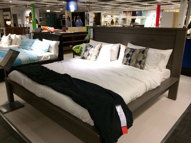ikea hosteland king sized bed in gray brown