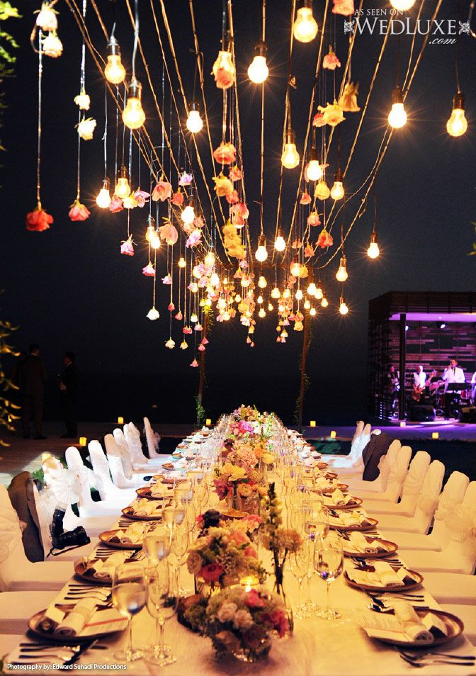 153 best reception images on pinterest casamento marriage wedluxe bali destination wedding with a beautiful hanging floral light display above the junglespirit Gallery
