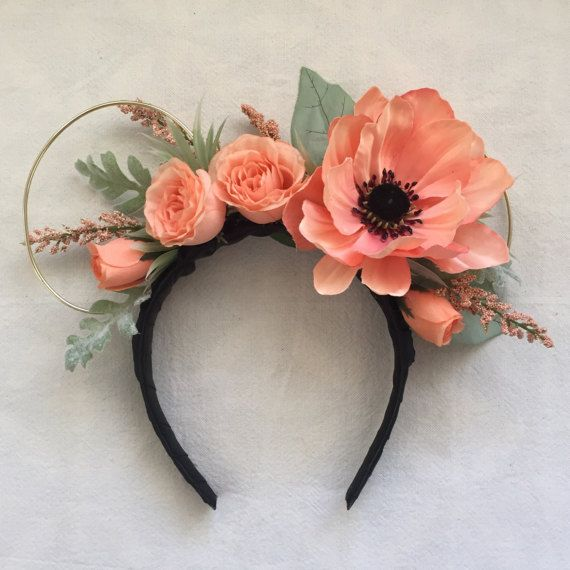 peaches and spring floral wire ears headband