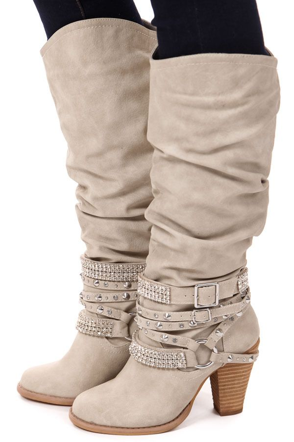 Lime Lush Boutique - Cream Tall Strappy Studded Boot, $84.99 (http://www.limelush.com/cream-tall-strappy-studded-boot/)
