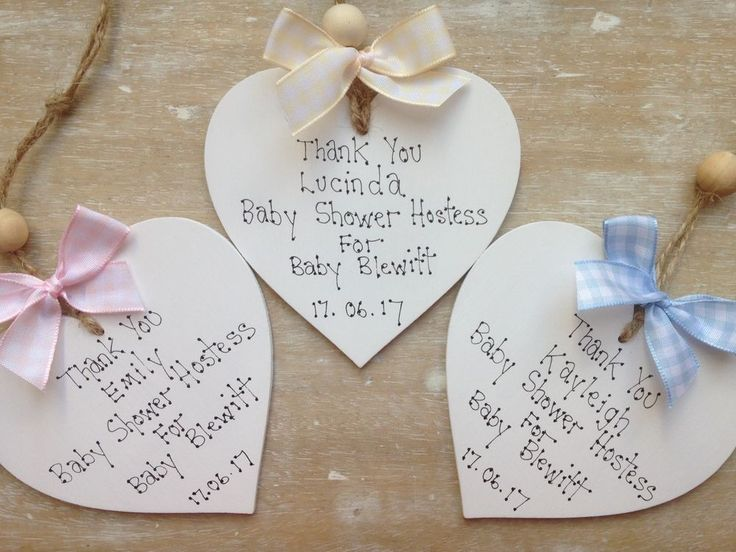 Baby Shower Hostess Plaque Personalised Thank You Wooden Keepsake Heart Gift