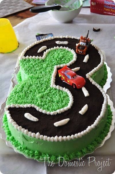 Make with cookie crumbs for a dirt road and Blaze character trucks...