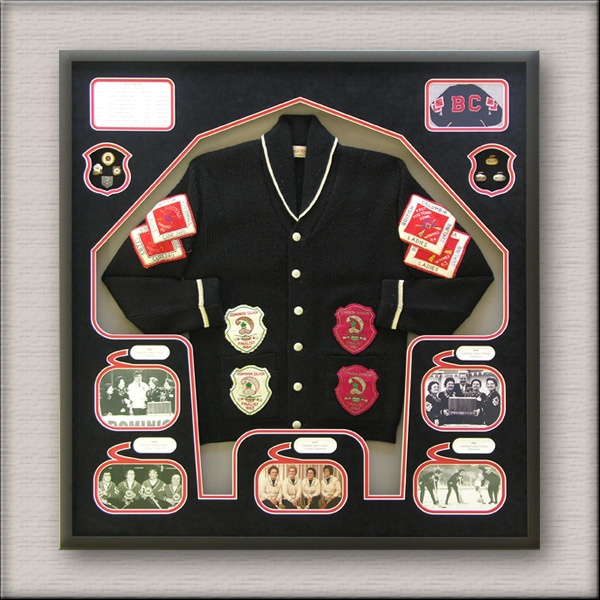 the FramingNook.com did this for someone and it looks great.. what a nice way to remember a curler...