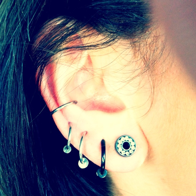 Small Gauges :-) super cute, this is what i want my ear to look like