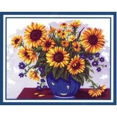 Collection D'Art 6.226 Vase of Sunflowers Tapestry Canvas