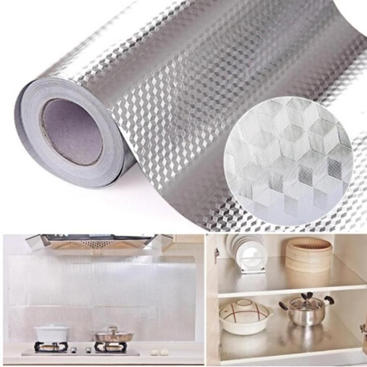 Aluminum Foil Kitchen Stickers Self Adhesive Oil Proof Stove Cabinet Rockcoo In 2020 Kitchen Stickers Aluminum Foil Trending Decor