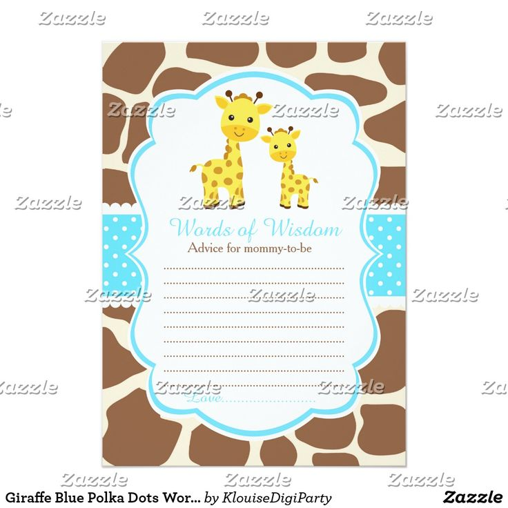 Giraffe Blue Polka Dots Words of Wisdom Card