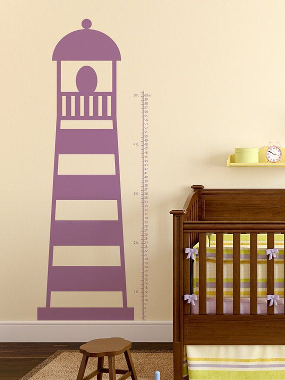 Simply Stated Lighthouse Growth Chart Wall by WallVinylCreations