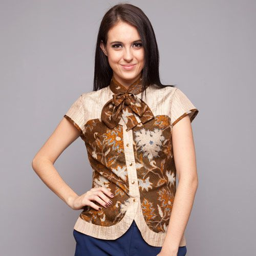 Brown Silk Bowtie Blouse