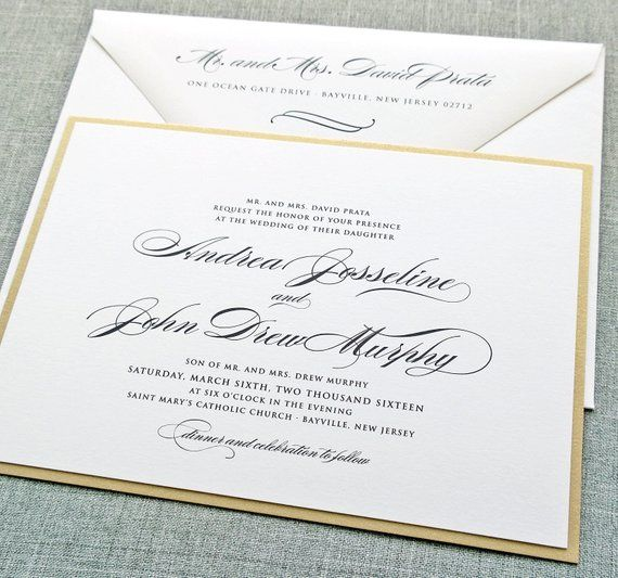 Andrea Script Metallic Gold Layered Wedding Invitation Sample With