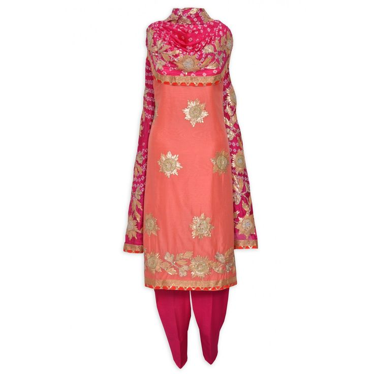 Ethnic coral unstitched suit adorn in gota work complemented with jaipuri dupatta-Mohan's the chic window