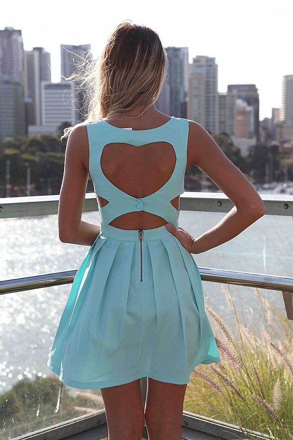 Blue Party Dress - Blue Heart Cutout Dress. Love the back of this dress.