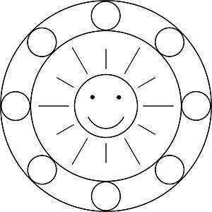 Mandala Vorlage mit der Sonne für Kinder im Kindergarten