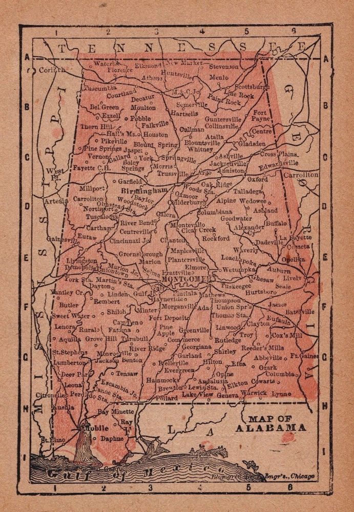 RARE Antique ALABAMA Map Original 1888 MINIATURE Vintage Map of
