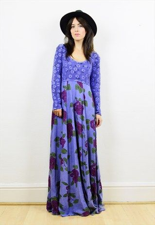 90s+blue+floral+print+long+sleeved+maxi+dress