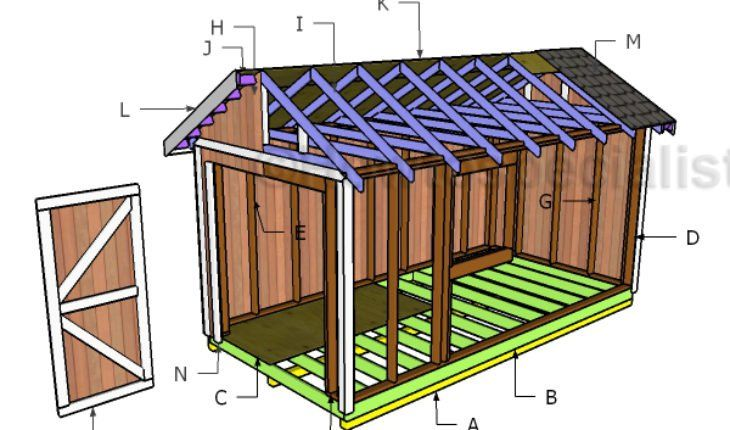 8x16 Gable Shed Roof Plans Howtospecialist How To Build Step By Step Diy Plans Wood Shed Plans Diy Shed Plans Shed Building Plans