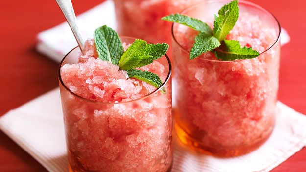 Reduce Acid Reflux with Watermelon and Ginger Granite: 3 cups seedless watermelon juice (blended),  1 cup water,  ½ cup honey,  1 whole clove,  1 pinch ground nutmeg,  1 tsp. fresh ginger,  1 tsp. salt,  ½ tsp. lemon zest. Bring the water, honey, clove, nutmeg, ginger, salt, and lemon zest to a boil. Allow to cool, then strain. Add the syrup to the watermelon juice. Place the juice in a bowl that can be put in the freezer, and freeze 3 hours. Stir every 15 minutes with a sauce whisk.