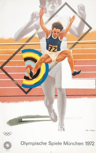 OLYMPIC GAMES. PHILLIPS, Peter. Olympische Spiele München 1972.  Original lithograph in colours, printed by Edition Olympia, Germany, 1971.