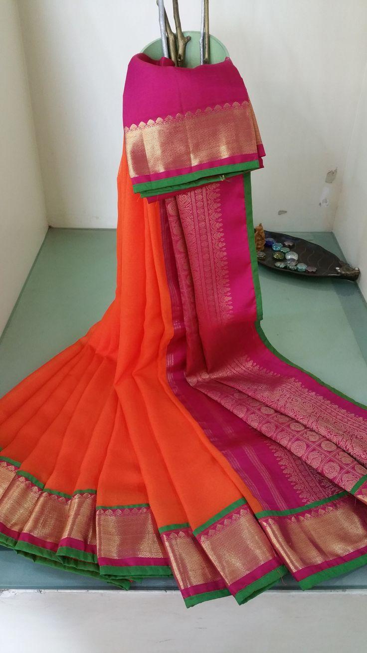 $244 + 38 for designer blouse and petticoat. Orange chiffon saree with kanchivaram zari border.