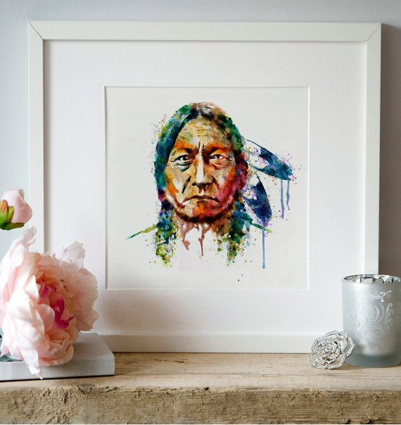 Sitting Bull watercolor painting instant download by Artsyndrome
