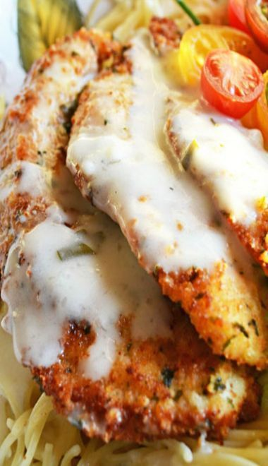 Parmesan Crusted Chicken...with herb butter sauce.