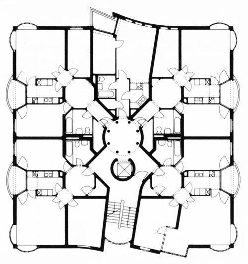Hans Hollein, Rauchstrasse, House 8, Plan, IBA Apartment Building, Berlin, Germany, 1983