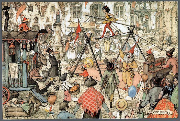 Briefkaart met een illustratie van Anton Pieck, voorstellende een straatbeeld met een acrobaat en een clown