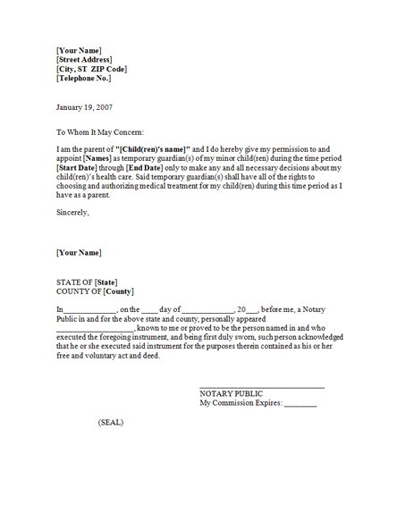 power of attorney letter for child care - templates