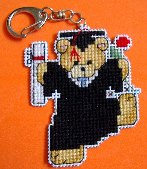 cross stitch teddy bears   Cross Stitch Teddy Bear Graduate Keychain