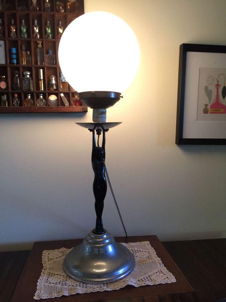 ANTIQUE VINTAGE ORIGINAL LARGE ART DECO DIANA NADE LADY LAMP & LAMPSHADE Works!