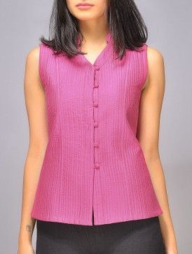 Pink Katan Silk Quilted Vest