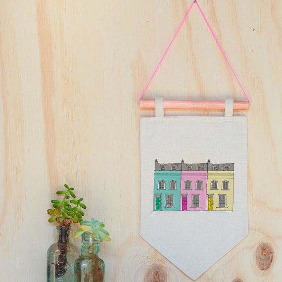 London Christmas Gift for her houses pennant flag, Notting Hill color hunters, colorful houses illustration wall art print, wall hanging, pennant flag, flag banner